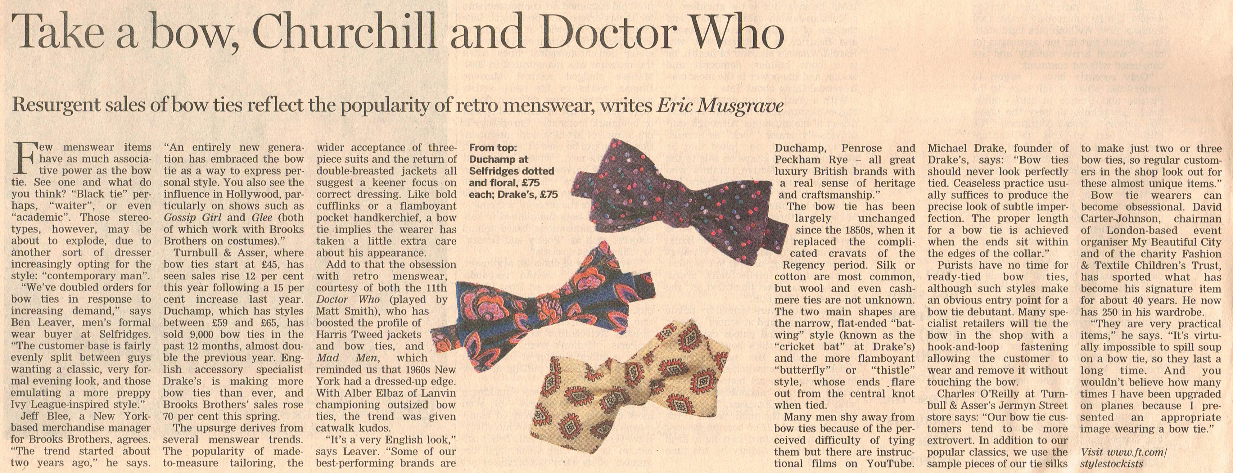 0a96e3157fc3 I have recently been singing the praises of the often overlooked bowtie in  The Financial Times ...