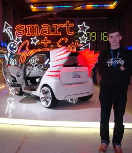 Teddy and Jeremy Scott Smart car